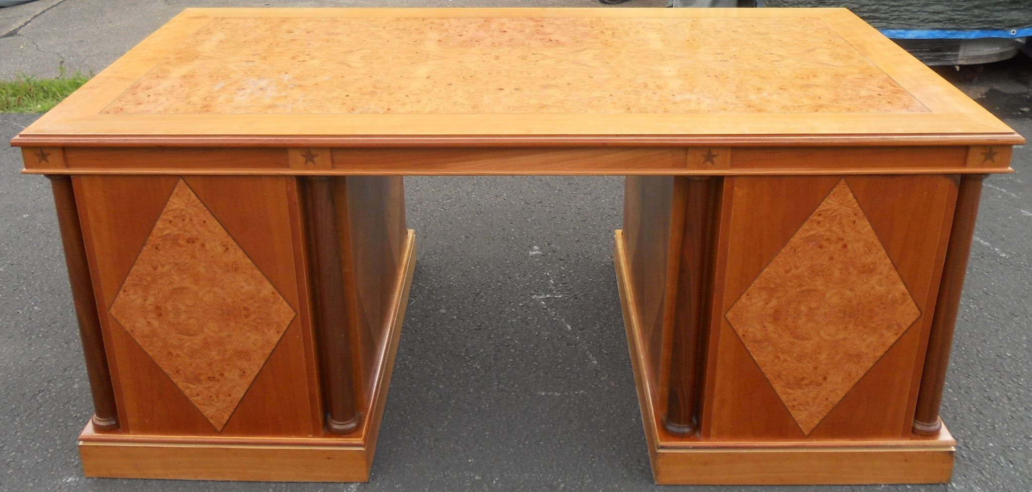 walnut twin pedestal writing desk - large walnut twin pedestal writing desk